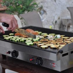 Légumes et saumon à la plancha